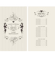 menu with floral ornaments heart and price list vector image vector image