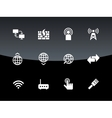 Networking icons on black background vector image vector image
