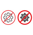 no cogwheel line and glyph icon prohibited and vector image