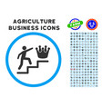 person steps to crown rounded icon with set vector image