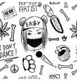 rap music hip hop doodle pattern with rap vector image vector image