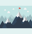 red flag on a mountain peak success concept vector image vector image