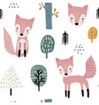 semless woodland pattern with cute foxes and hand vector image