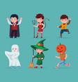 set children halloween characters vector image vector image
