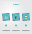 set of coffee icons flat style symbols with mocha vector image