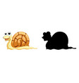 set snail cartoon character and its silhouette vector image vector image