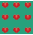 Small red hearts on a green background vector image
