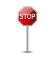stop traffic road sign prohibited red road sign vector image vector image