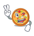 two finger pizza character cartoon style vector image