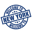 welcome to new york blue stamp vector image vector image