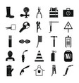 welder equipment icons set simple style vector image