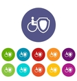 Wheelchair and safety shield set icons vector image vector image
