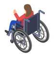 woman in wheelchair icon isometric style vector image vector image
