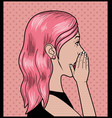 woman with pink hair pop art style vector image vector image