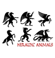 Heraldic animals emblems and icons vector image
