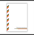 white brochure with ribbon in german tricolor vector image