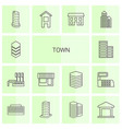 14 town icons vector image vector image
