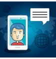 avatar man with smartphone device vector image vector image