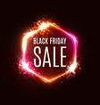 black friday neon sign banner discount card design vector image vector image