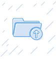 blue download arrow with folder line icon vector image vector image