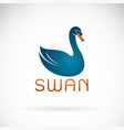 blue swan design on white background wild animal vector image vector image