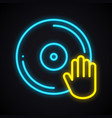bright neon disco sign glowing dancing party vector image vector image