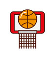 brightly basket ball in the hoop cartoon vector image