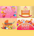 care baby items banner set cartoon style vector image vector image