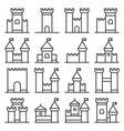 castle icon line style set on white background vector image vector image