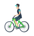 cheerful biker on green vehicle isolated on white vector image