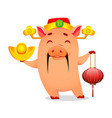 chinese new year of pig 2019 greeting card vector image vector image