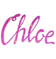 Chloe name lettering pink tinsels vector image vector image