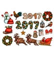 Christmas and New Year winter holiday sketch set vector image