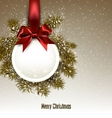Christmas gift card with red ribbon and satin bow vector image vector image