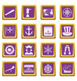 columbus day icons set purple vector image vector image