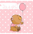 cute bear cub on a pink background vector image vector image