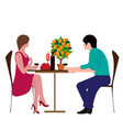 cute couple sitting at table drinking tea or coff vector image vector image