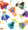 cute superhero boys and girls seamless pattern vector image