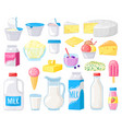 dairy products cartoon milk cheese butter sour vector image vector image