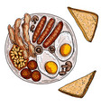 english or irish breakfast fried eggs sausages vector image vector image