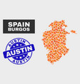 flame mosaic burgos province map and grunge austin vector image vector image