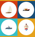 flat icon vessel set of yacht delivery tanker vector image vector image