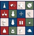 Flat icons set Christmas and New Year vector image