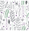 floral pattern with doodle flowers and vector image vector image