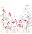 floral spring with pink tulip flowers plants vector image