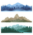 foggy mountains landscape set vector image