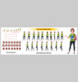 girl student character model sheet with walk vector image vector image