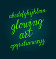 glowing art typeface bright tubular font vector image