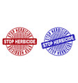 grunge stop herbicide scratched round watermarks vector image vector image