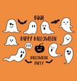 halloween ghosts pumpkin and bats set vector image